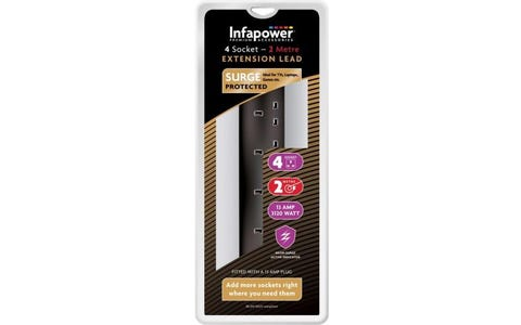 InfaPower 4 Socket 2 Metre Surge Protected Extension Lead - Black