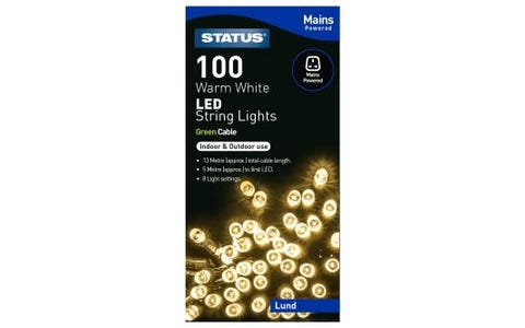 Status Lund 100 Warm White LED String Lights 8 Functions 13m Indoor/Outdoor