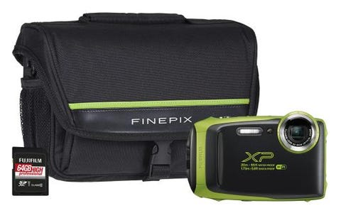 Fujifilm Finepix XP130 Tough Lime Green Camera Kit Bundle with 64GB SD Card & System Bag