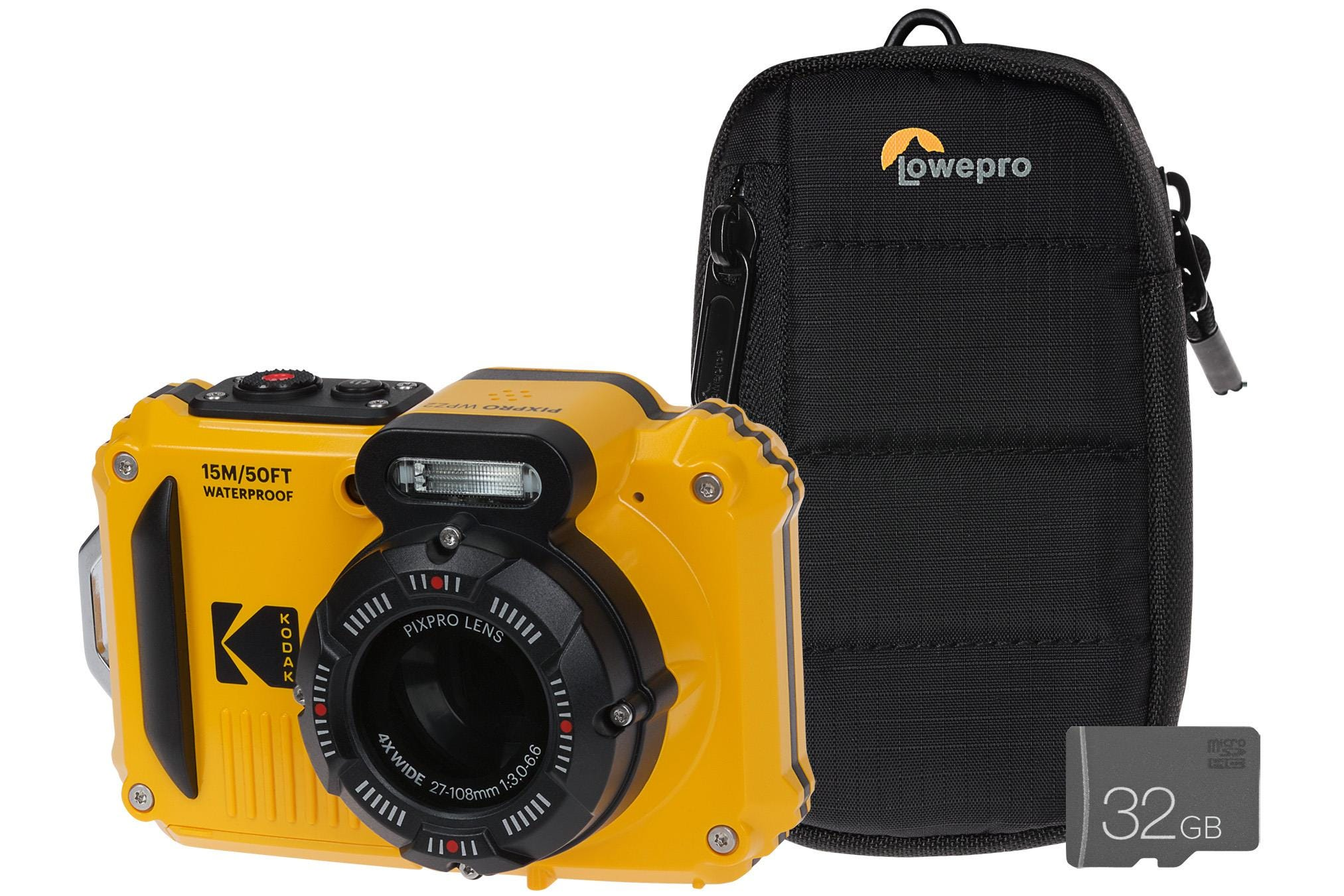 Kodak PIXPRO WPZ2 16MP 4x Zoom Tough Compact Camera, 32GB MicroSD Card    Case - Yellow