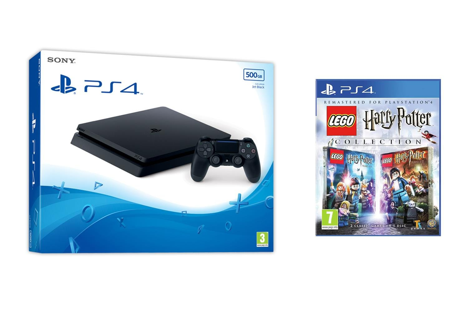 Sony PlayStation 4 500GB Jet Black Console with LEGO Harry Potter Game Collection