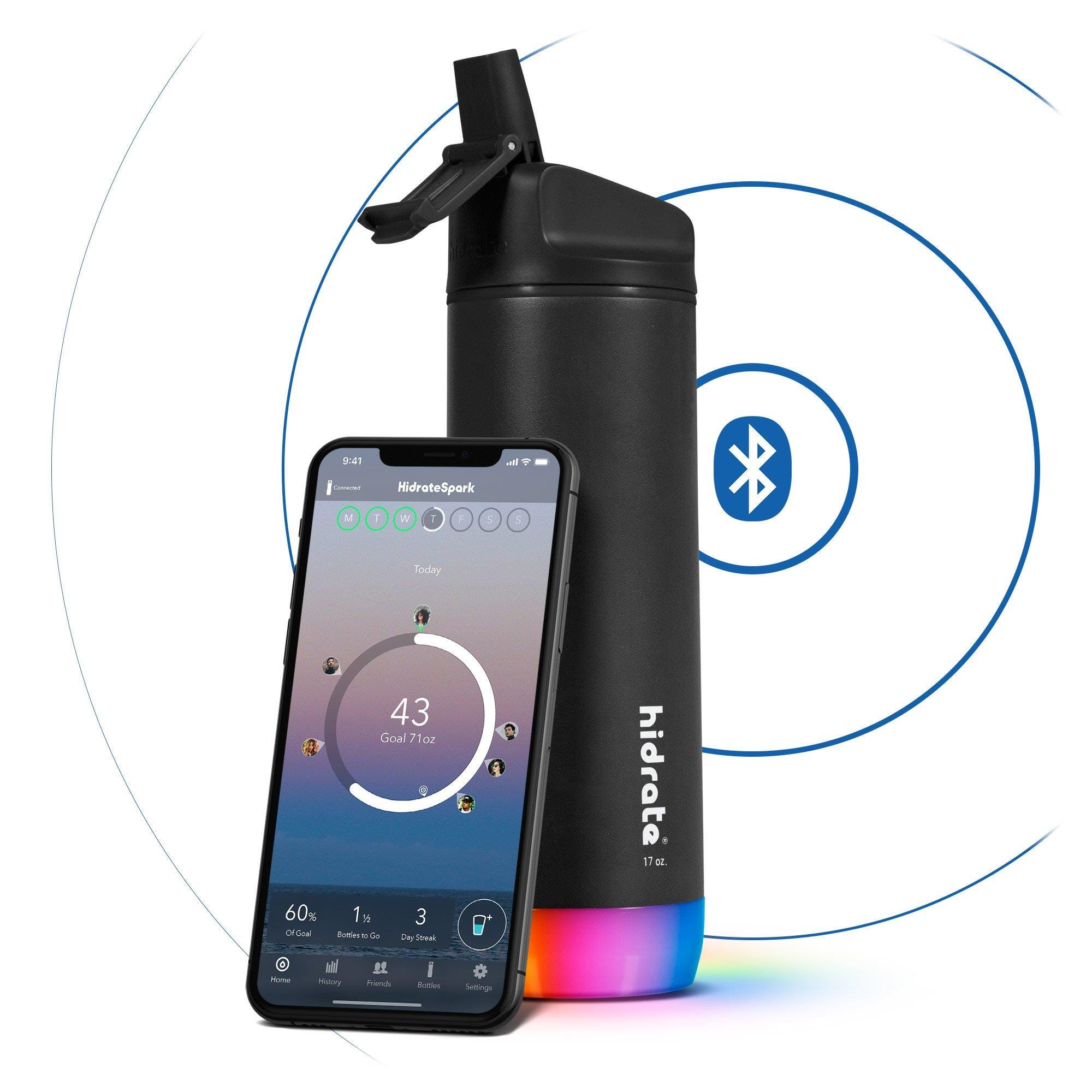 Hidrate Spark Steel Insulated Stainless Steel Bluetooth Smart Water Bottle Straw Lid (17oz) - Black
