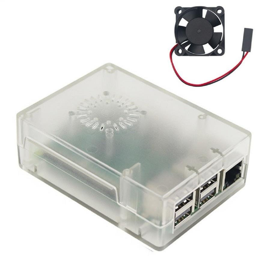 Raspberry Pi 3 Model B+ Case with Cooling Fan - Transparent