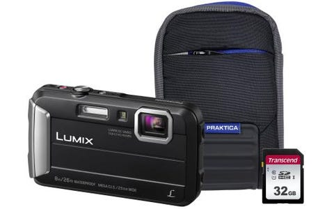 Panasonic Lumix DMC-FT30 (16MP) Waterproof Camera with 32GB SD Card and Case - Black