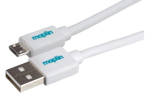 Maplin Premium USB A 2.0 Male to Micro USB B Male Cable (1.5m) - White