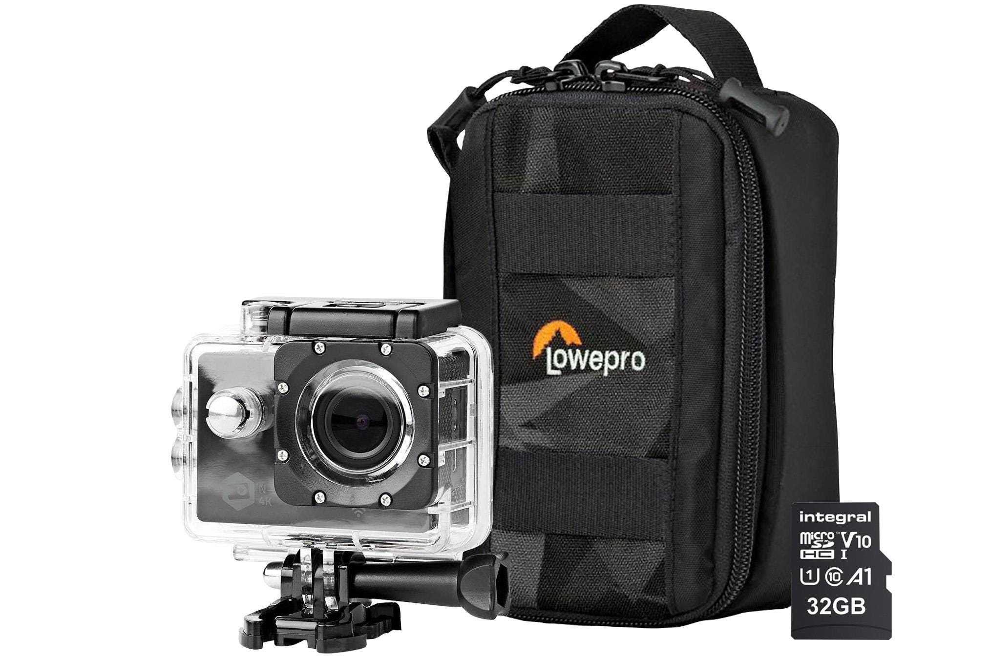 Nedis Ultra HD 4K WiFi Action Cam inc Waterproof Case, Mounting Kits, LowePro Protective Bag    32GB