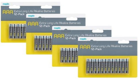 Maplin Extra Long Life High Performance Alkaline AAA Batteries x48 (4x 12 Pack)