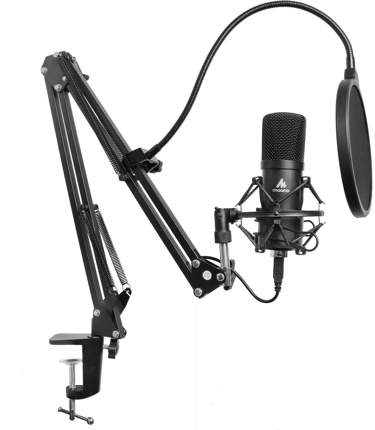 Maono Studio Microphone Kit USB Connection Table Spring Loaded Boom Arm    Pop Filter
