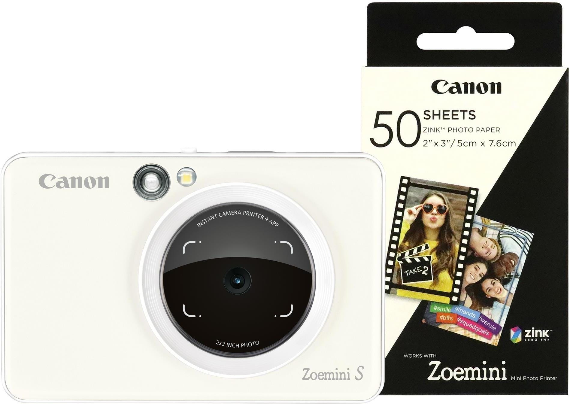 Canon Zoemini S Pocket Size 2-in-1 Instant Camera (60 Shots) - Pearl White
