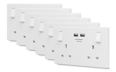 British General 13A 2 Gang Switched Socket with 2x USB-A 3.1A - White. Pack of 6