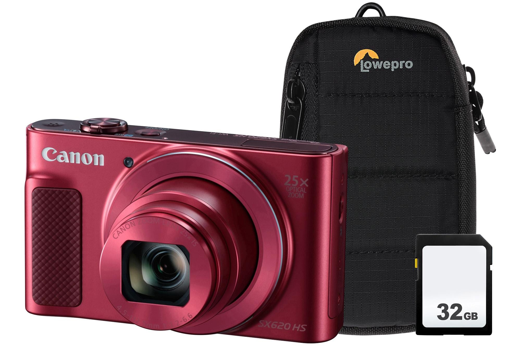 Canon PowerShot SX620 HS 21.1MP 25x Zoom Compact Camera, 32GB SDHC Card    Case - Red