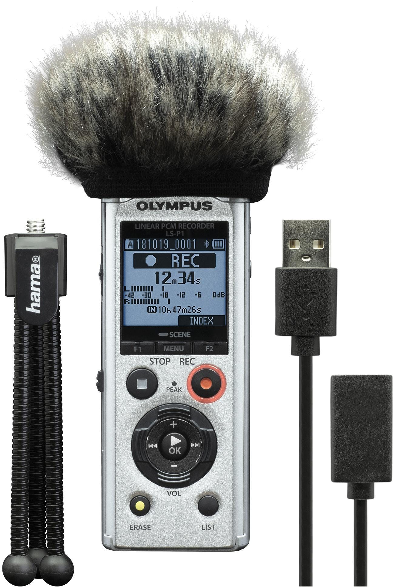 Olympus LS-P1 4GB Hi Res Audio Recorder Podcaster Kit inc mini Tripod, Windscreen and USB Cable