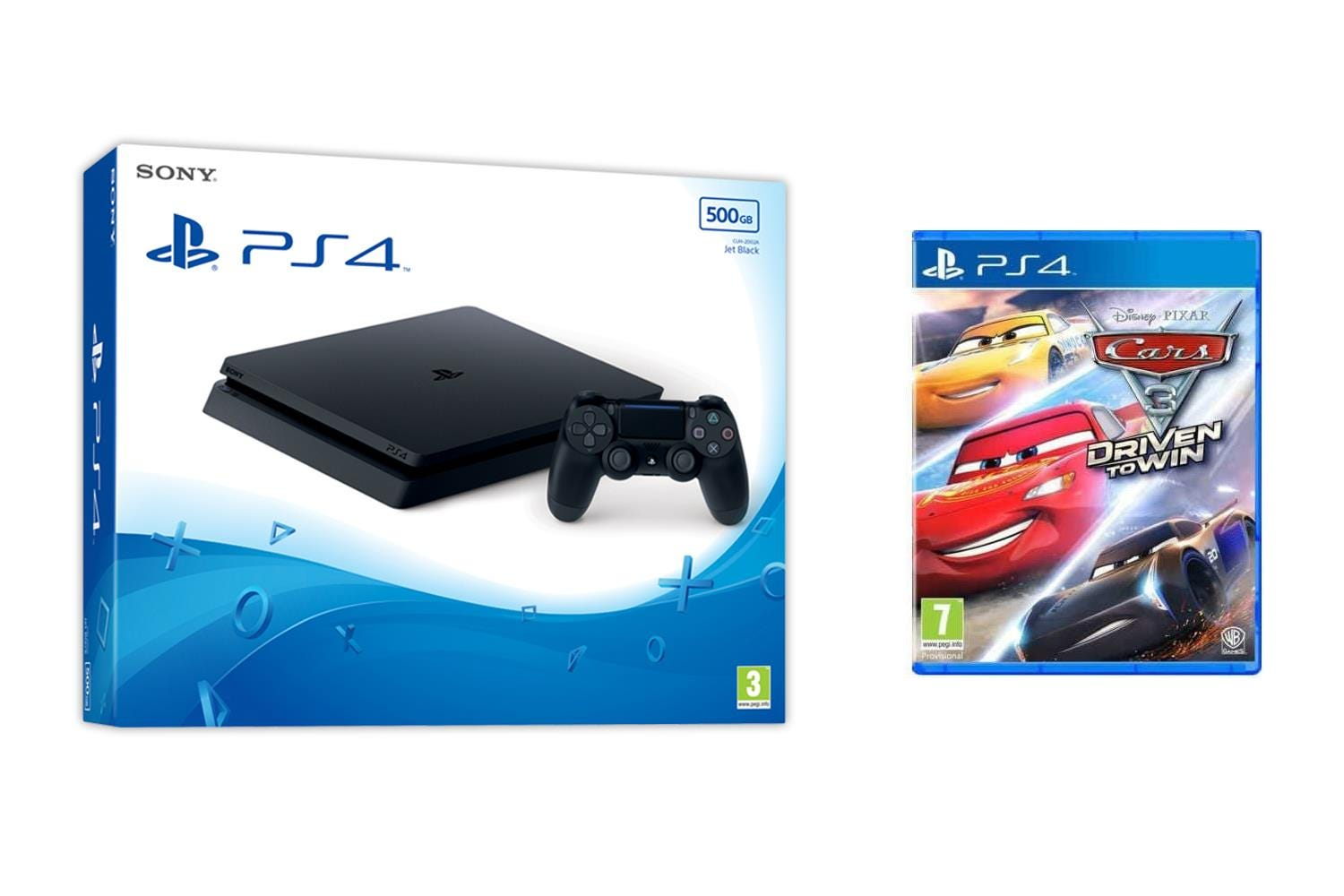 Sony PlayStation 4 500GB Jet Black Console with Cars 3: Driven To Win