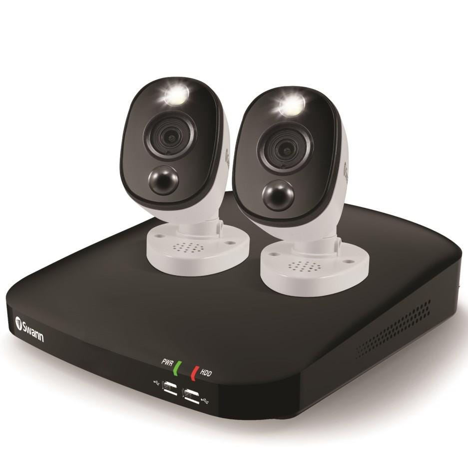 Swann DVR4-4680 Outdoor Wired Full HD Night-Vision 4-Channel CCTV DVR Kit with 2 Cameras - 1 TB, Whi