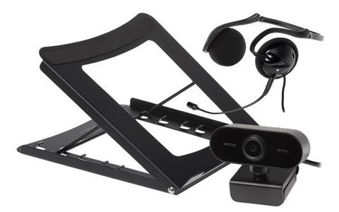 Maplin Working from Home Kit inc Headset with Mic, FullHD WebCam & Laptop Stand