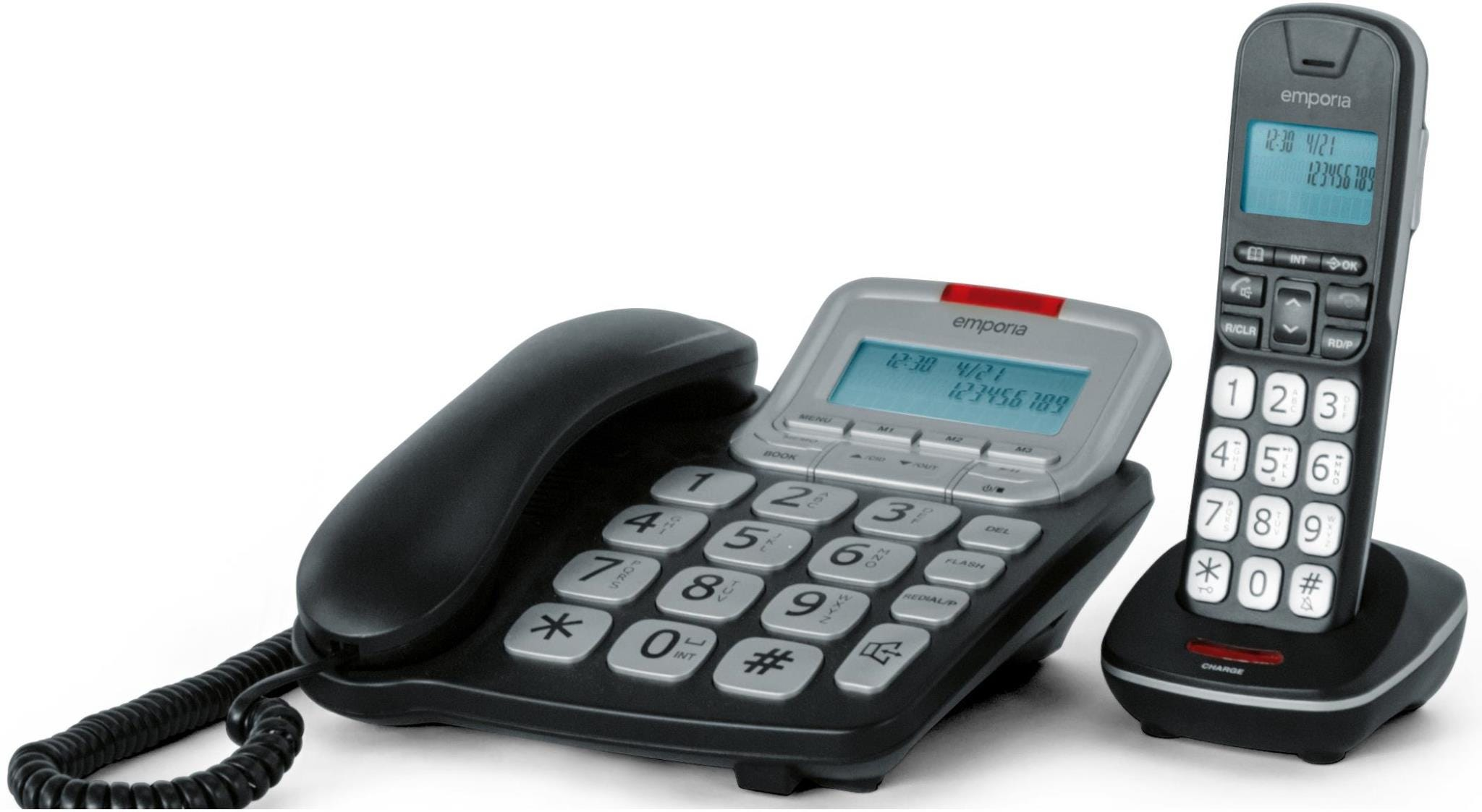 Image of Emporia GD61-ABB Corded and Big Button DECT Phone with Digital Answering Machine