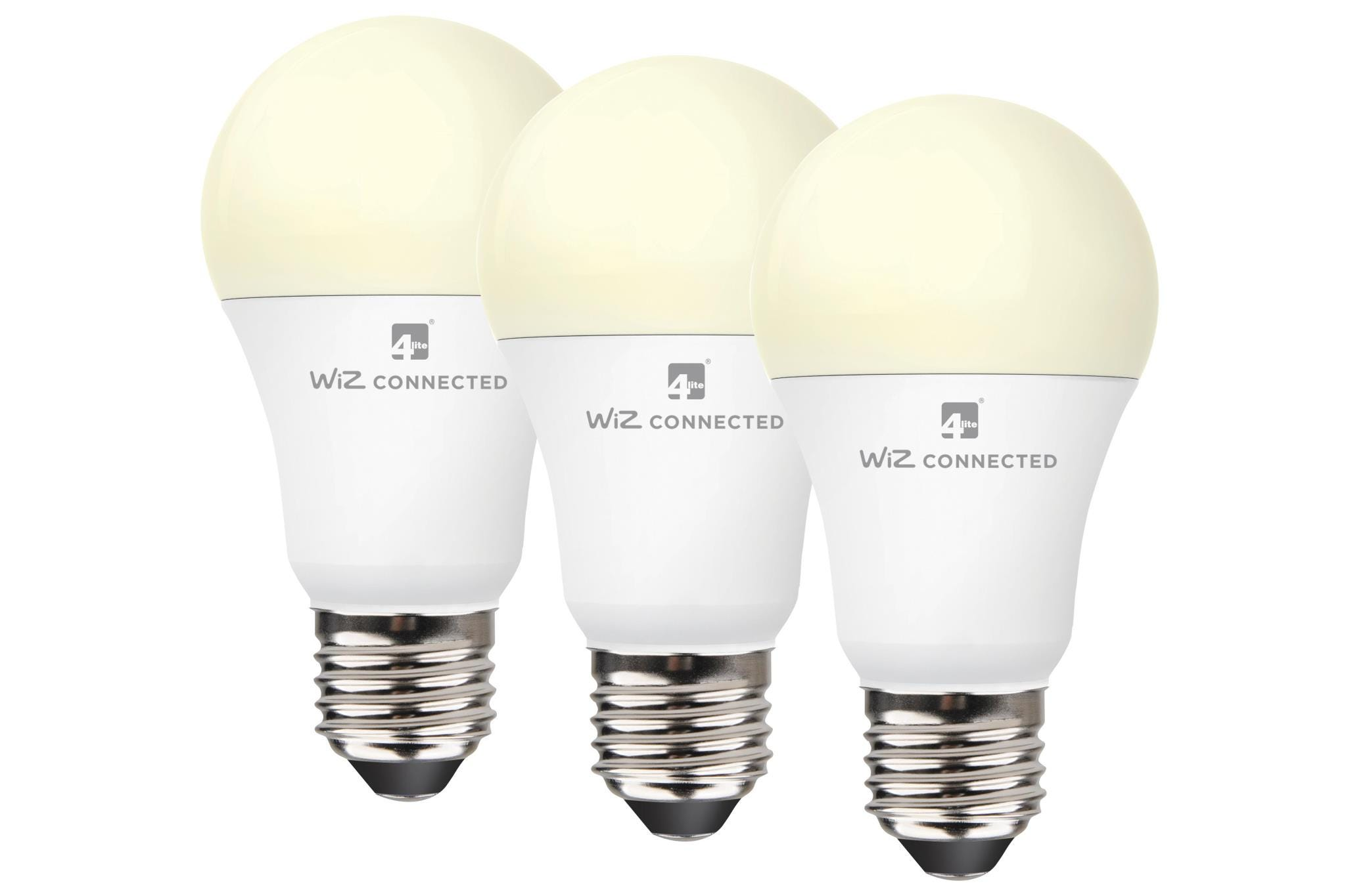 4lite WiZ Connected A60 LED Smart Bulb White Dimmable WiFi E27 Screw Triple Pack