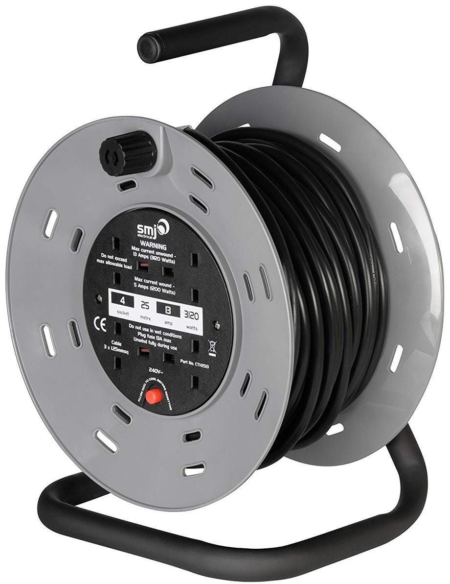SMJ Electrical Heavy Duty 4-Socket Extension Cable Reel - 25m