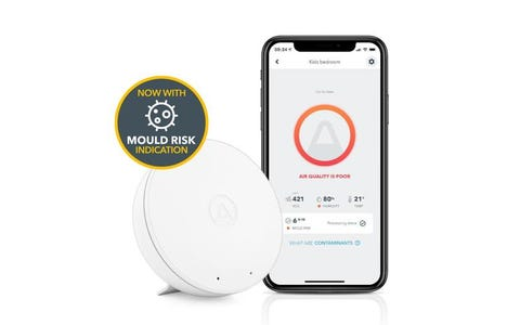 Airthings Wave Mini Indoor Air Quality Monitor with Mould Risk Indication