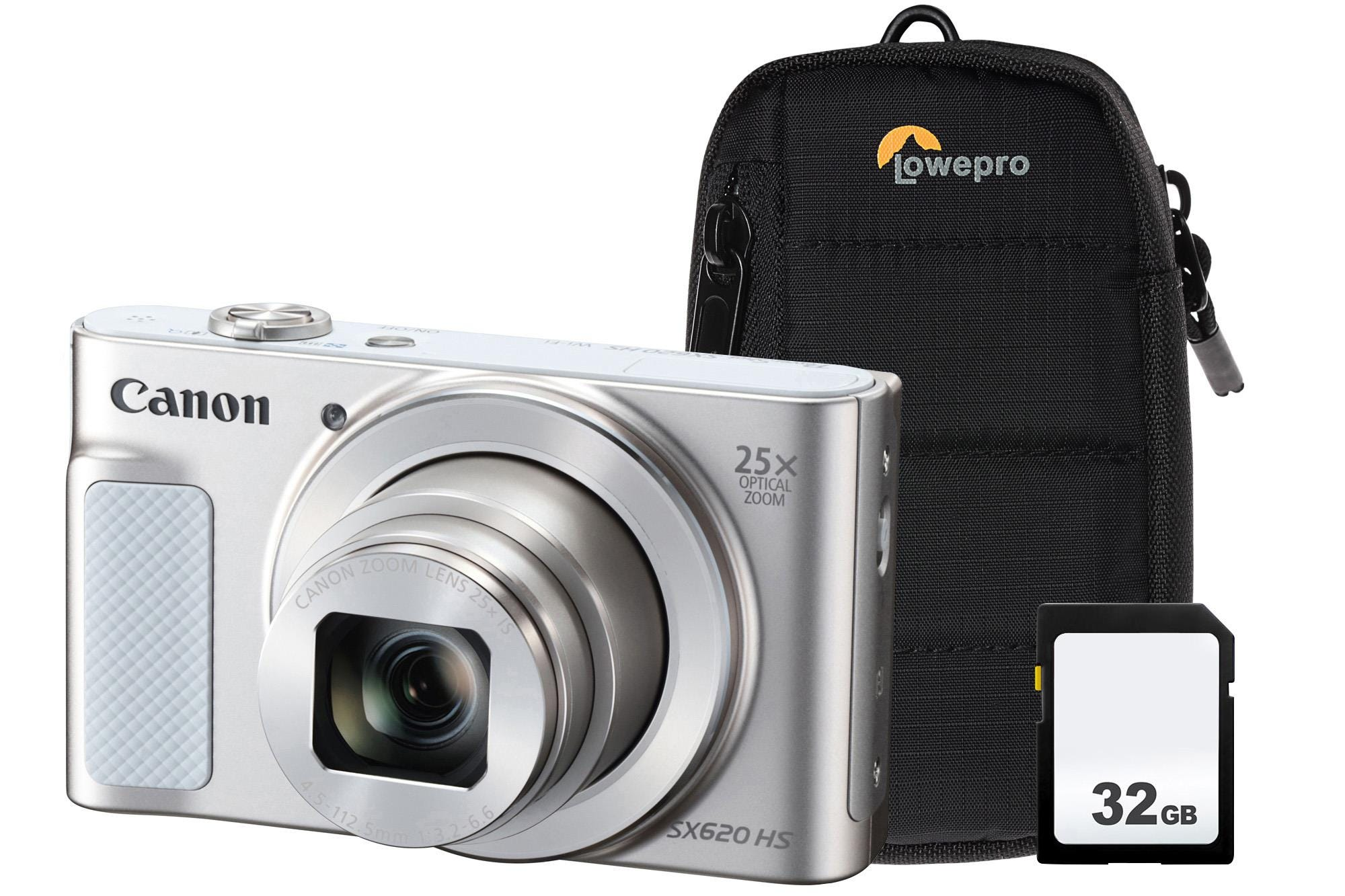 Canon PowerShot SX620 HS 21.1MP 25x Zoom Compact Camera, 32GB SDHC Card    Case - White