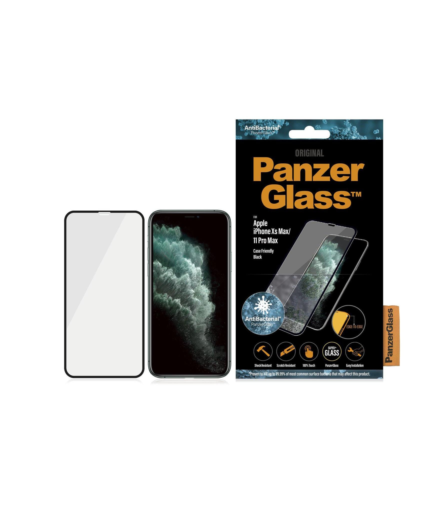 PanzerGlass Apple iPhone Xs Max/11 Pro Max Case Friendly Anti-Bacterial Screen Protector - Black
