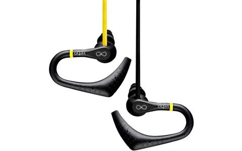 Veho ZS-2 Water Resistant Sports In-Ear Headphones with Sports Ear Hooks - Yellow