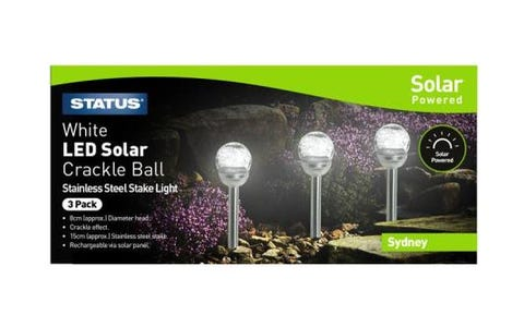 Status Solar Crackle Glass LED Stake Lights - Pack of 3