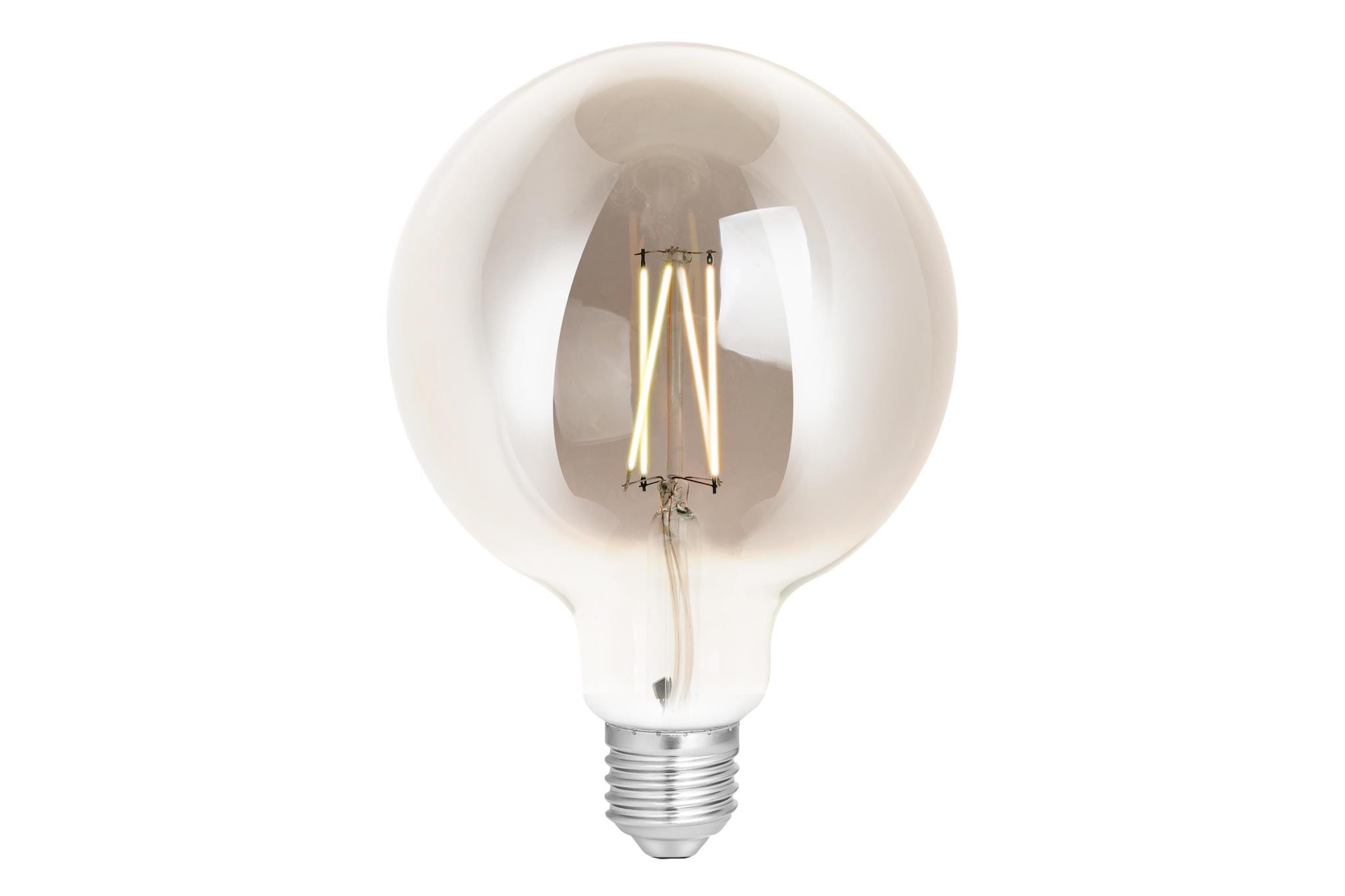 4lite WiZ Connected G125 Edison Filament LED Smart Bulb Smoky White Dimmable WiFi  - E27 Screw