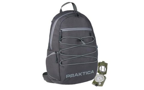PRAKTICA Water-Resistant All Weather Grey Binocular/Camera Backpack with Rain Cover & Military Shockproof Travel Compass