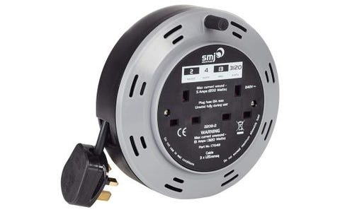 SMJ Electrical 2x 13A Socket Compact Extension Cable Reel (4m)