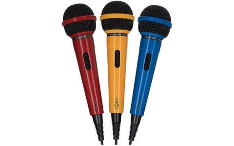Maplin 3 Pack Karaoke Dynamic Directional Microphones - Red, Yellow & Blue