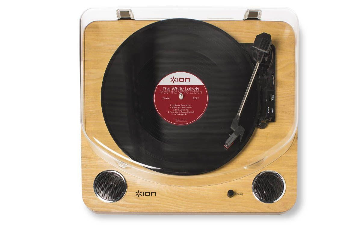 ION Max LP Conversion Turntable with Stereo Speakers - Wood