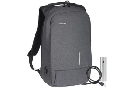"""Kingsons Smart Anti-Theft USB Series up to 15.6"""" Laptop Backpack and Powerbank Bundle - Dark Grey"""