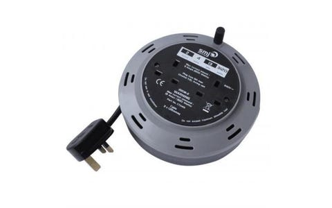 SMJ Electrical Compact 2-Socket Extension Cable Reel - 4m
