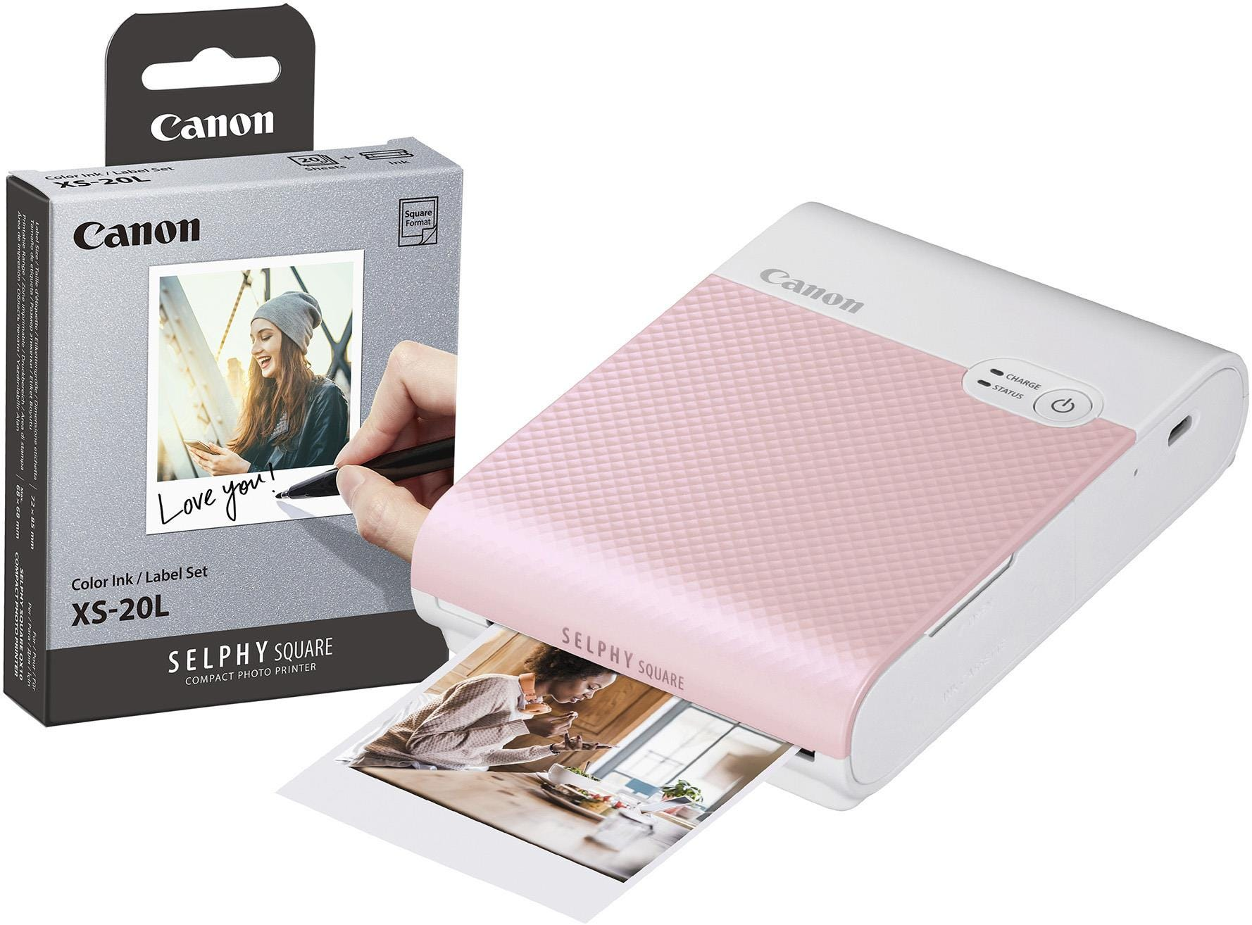 Canon Selphy Square QX10 Instant Photo Printer including 20 Shots - Pink