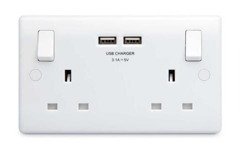 British General Round Edge 13A 2 Gang Switched Socket with 2x USB-A 3.1A - White