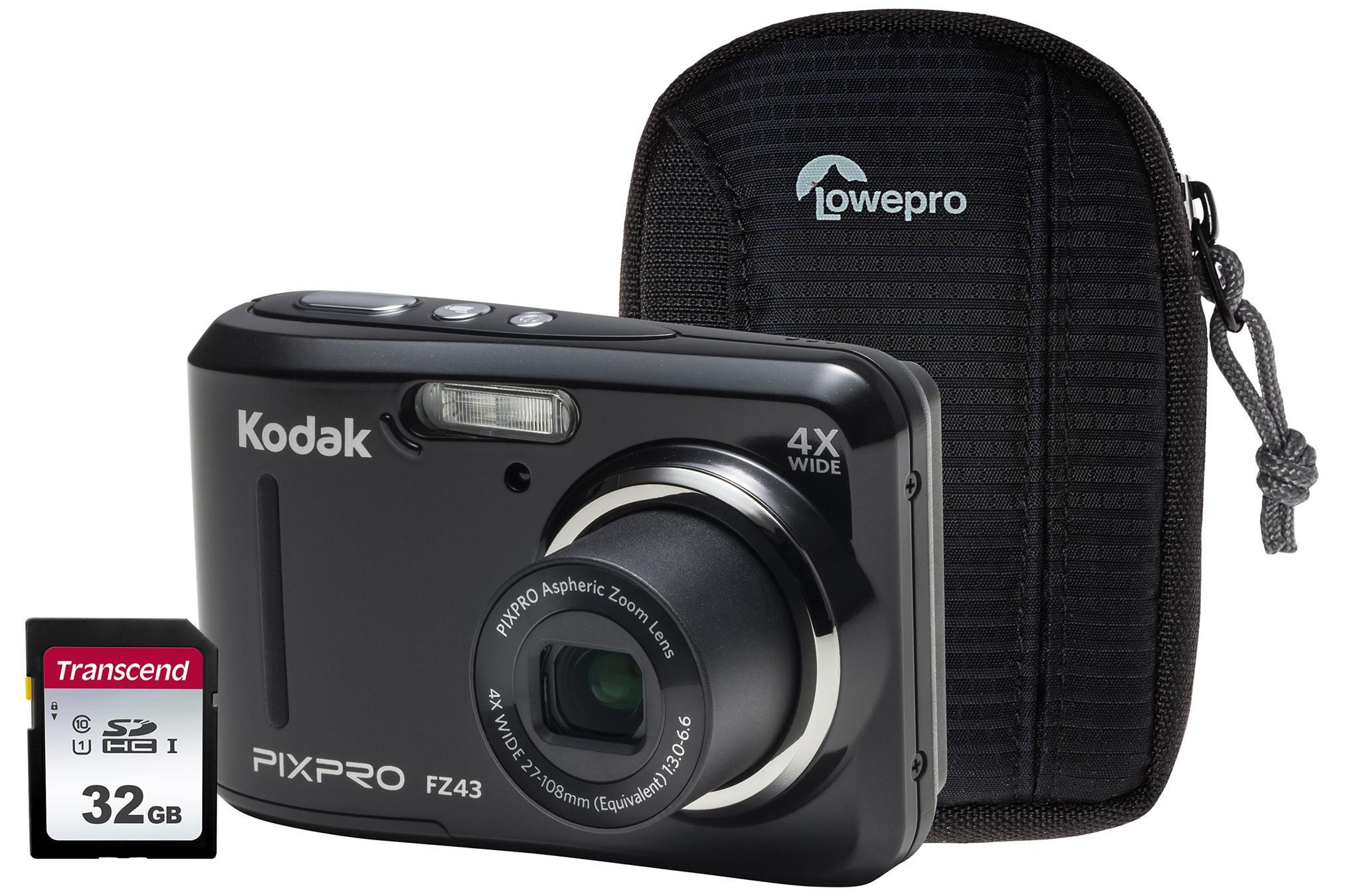 Kodak PIXPRO FZ43 16MP 4x Zoom Compact Camera, 32GB SD Card    Case - Black