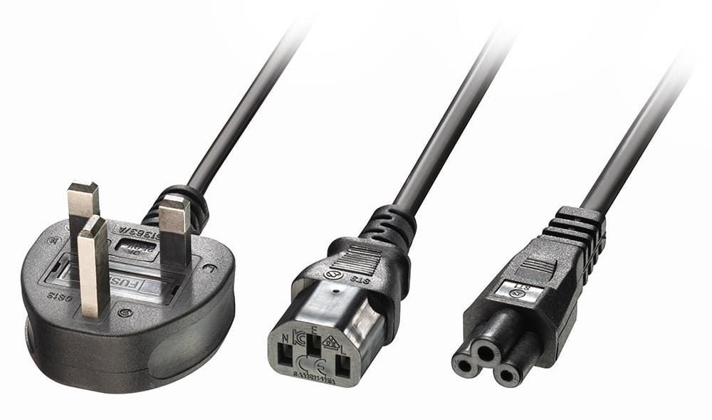 Lindy Y IEC C13/C5 Plug to UK 3-Pin Plug Power Supply Cable - 2.5m