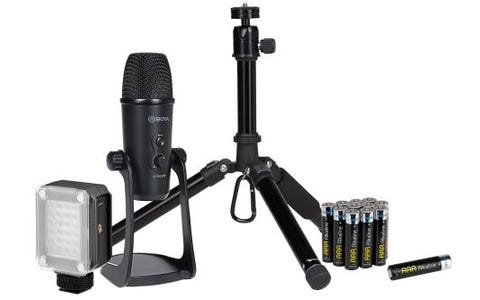 Maplin Vlogger Accessory Kit including LED Video Light, Batteries, USB Condenser Microphone and Tripod