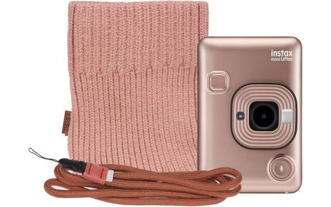 Fujifilm Instax Mini LiPlay Hybrid Instant Camera - Blush Gold - FREE Pouch & Neck Strap