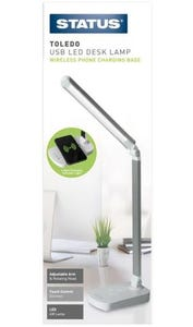 status Toledo LED Desk Lamp With Built In QI Wireless Mobile Phone Charging Pad