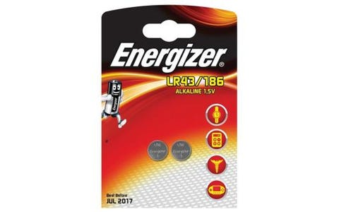 Energizer LR43/186 2x Alkaline Coin Cell Batteries