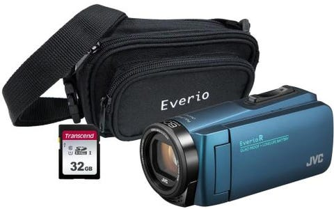 JVC GZ-R495 4GB Memory HD Quad Proof Camcorder Kit including 32GB SD and Case - Blue