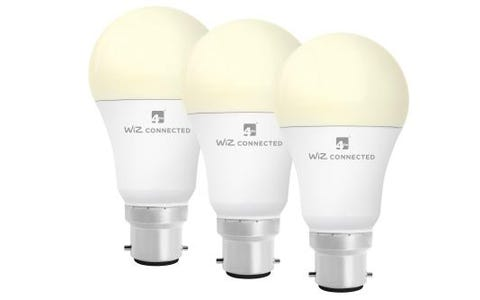 4lite WiZ Connected A60 LED Smart Bulb White Dimmable WiFi B22 Bayonet Triple Pack