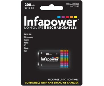 InfaPower Longlife Rechargeable Ni-MH 9v Battery