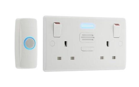 British General Nexus Double Switched 13A Power Socket with Door Chime - White