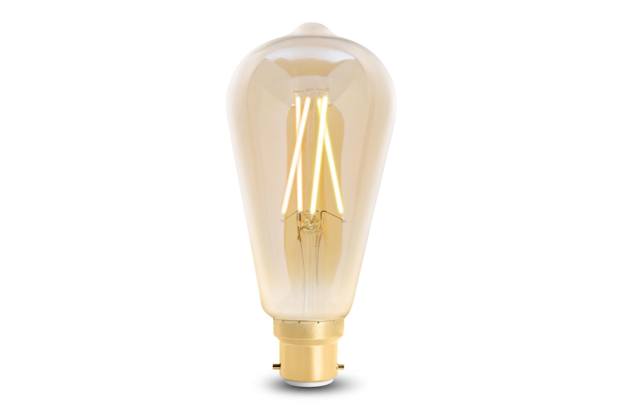 4lite WiZ Connected ST64 Edison Filament LED Smart Bulb Amber White Dimmable WiFi  - B22 Bayonet