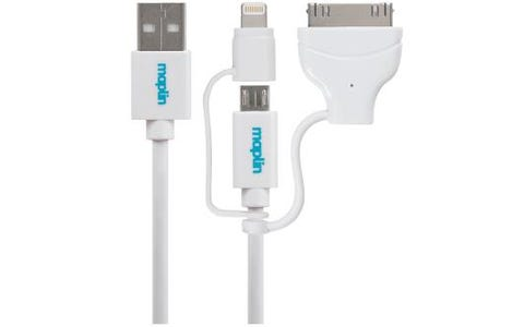 Maplin 3 in 1 Multi-Plug USB-A to Lightning Connector, Apple 30Pin, Micro USB Cable (1.5m) - White