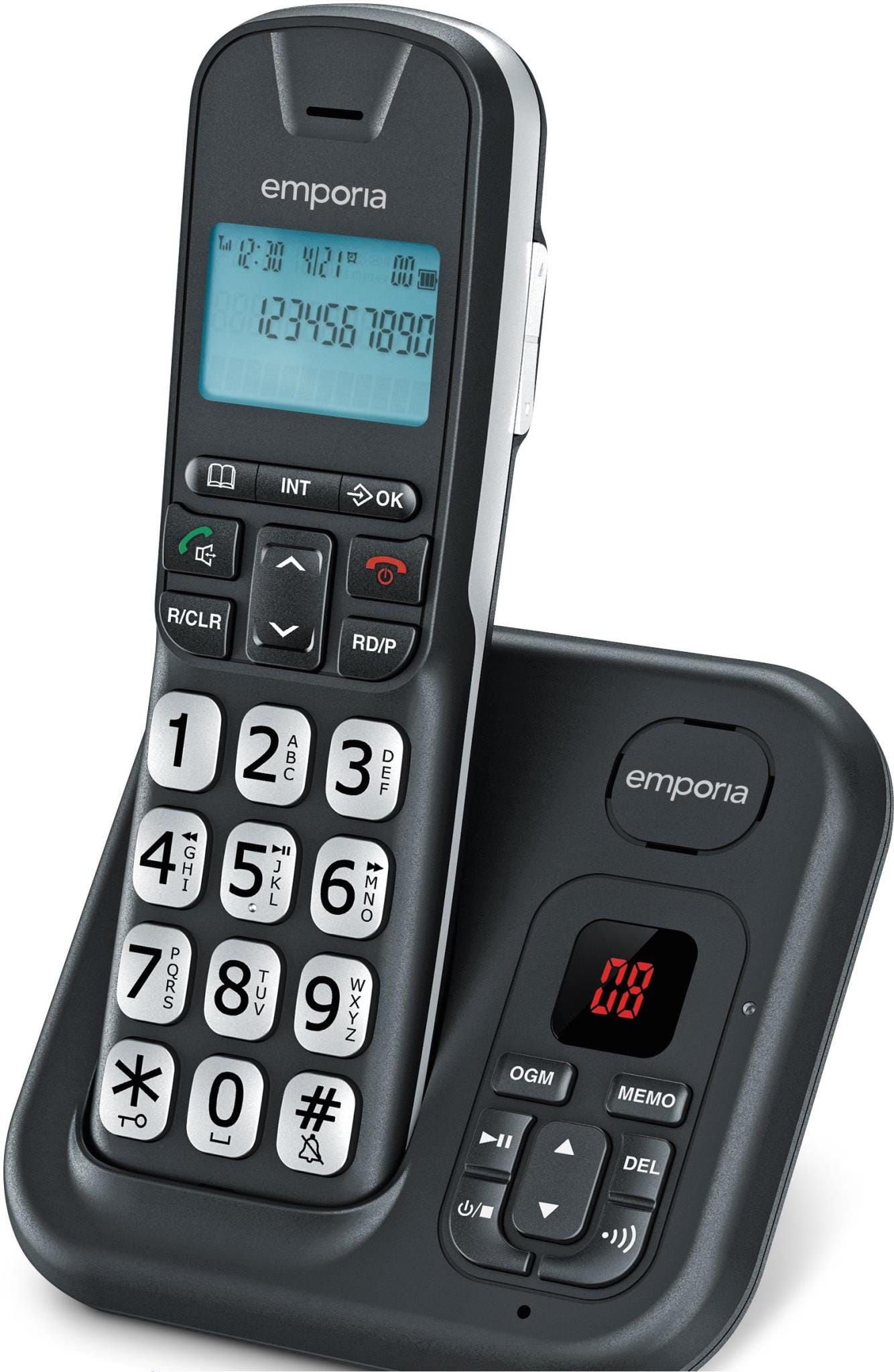 Image of Emporia GD-61-AB Cordless Big Button DECT Phone with Digital Answering Machine