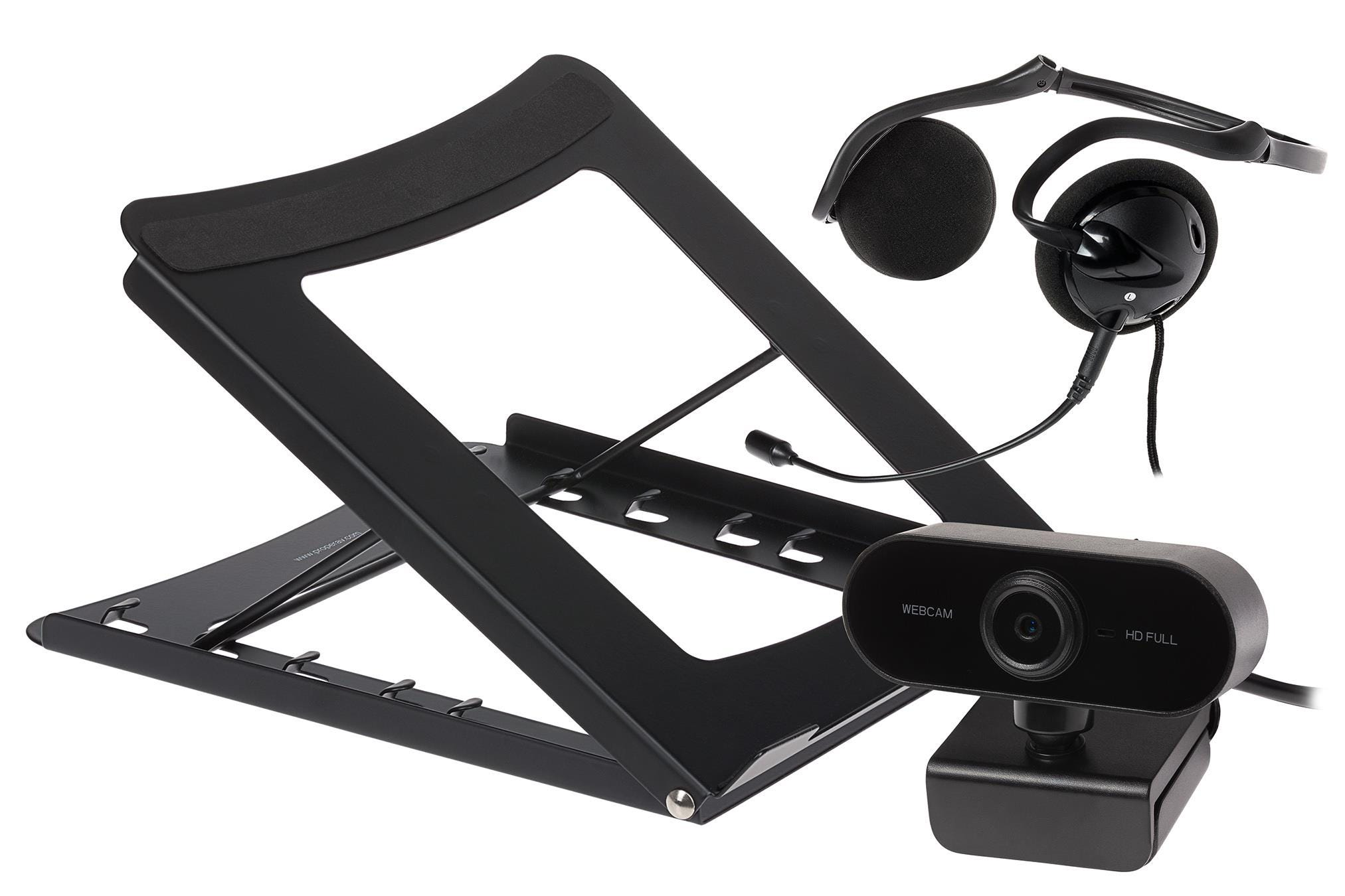 Maplin Working from Home Kit inc Headset with Mic, FullHD WebCam    Laptop Stand